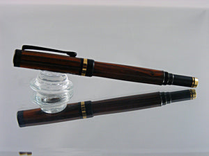 Rollerball, Classic Handmade Pen in 24k Gold with Black Enamel and Cocobola
