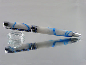 Handcrafted, Ballpoint Pen with Blue Swarovski Crystals in Chrome and Glacial Acrylic