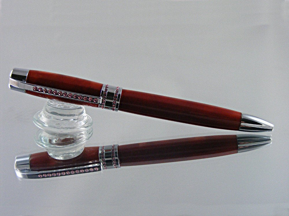 Handcrafted, Ballpoint Pen with Pink Swarovski Crystals in Chrome and Cosmic Copper Acrylic