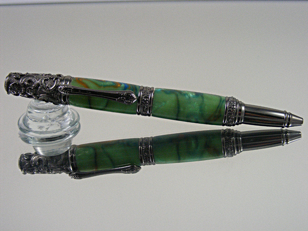 Victorian, Handcrafted Ballpoint Pen in Gunmetal and Exotic Bloom Acrylic