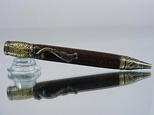 Dragon Pen, Handcrafted Ballpoint Pen with Antique Brass Fittings and Golden Dragon Scale Acrylic