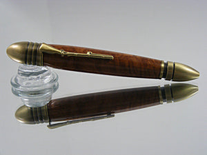Civil War, Handmade Ballpoint Pen in Antique Brass and Brown Mallee Burl