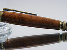 Load image into Gallery viewer, Civil War, Handmade Ballpoint Pen in Antique Brass and Brown Mallee Burl