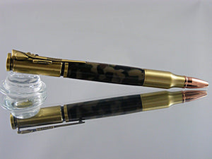 Bolt Action Pen, Handmade in Antique Brass and Woodland Digital Camo Acrylic