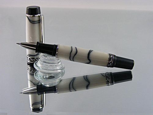 Rollerball, Handmade Pen  in Rhodium and Black Enamel with White and Black Thread Acrylic