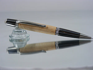 Twist Pen, Classic Style Pen, Handcrafted in Black Titanium and Platinum with Birdseye Maple Wood