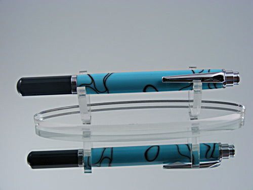 Rollerball, Handmade Rollerball in Black Chrome and Turquoise with Black Acrylic