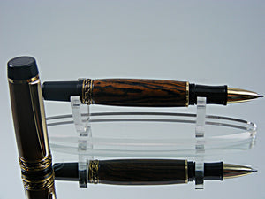 Rollerball, Handmade Pen in 24k Gold and Black Enamel with Bocote Wood