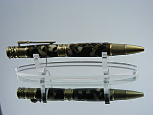 Patriotic, Handmade Ballpoint Pen in Antique Brass and Camo Acrylic