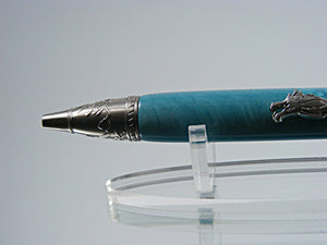 Dragon Pen, Handcrafted Ballpoint Pen in Antique Nickel and Laguna Dragon Acrylic