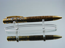 Load image into Gallery viewer, Filigree Style, Handcrafted Ballpoint Pen with Satin Gold over Satin Chrome and Black Ash Burl