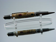 Load image into Gallery viewer, Inlay Pen,Autumn Leaves Inlay, Handcrafted Ballpoint Pen in Black Titanium and Platinum with Fall Leaves Inlay