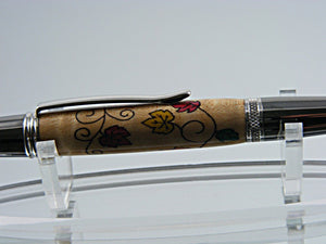Inlay Pen,Autumn Leaves Inlay, Handcrafted Ballpoint Pen in Black Titanium and Platinum with Fall Leaves Inlay