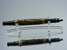 Load image into Gallery viewer, Elegant Pen, Handcrafted Ballpoint Pen, Nouveau Style Pen in Gold and Gun Metal with Spalted Clear Maple Wood