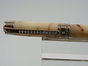Ballpoint Pen, Handmade Pen in 24k Gold and Clear Swarovski Crystals with Alabaster Acrylic