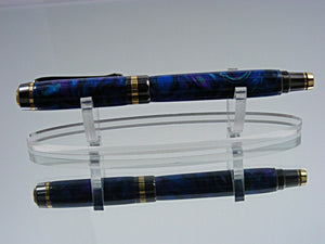Rollerball, Handmade Classic Pen in 24k Gold and Gunmetal with Amethyst Acrylic