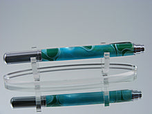 Load image into Gallery viewer, Rollerball, Handmade Pen in Chrome and Aqua Green Swirl Acrylic