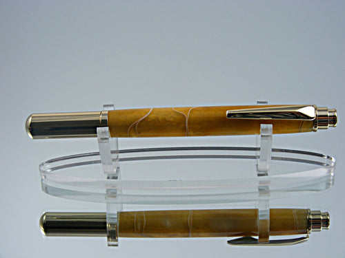Rollerball, Handcrafted Pen in 24k Gold and Gold with White Threads Acrylic