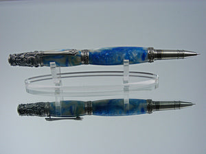Victorian Rollerball, Handmade Pen in Antique Pewter with Blue and White Acrylic