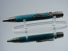 Load image into Gallery viewer, Dragon Pen, Handcrafted Ballpoint Pen in Antique Nickel and Laguna Dragon Acrylic