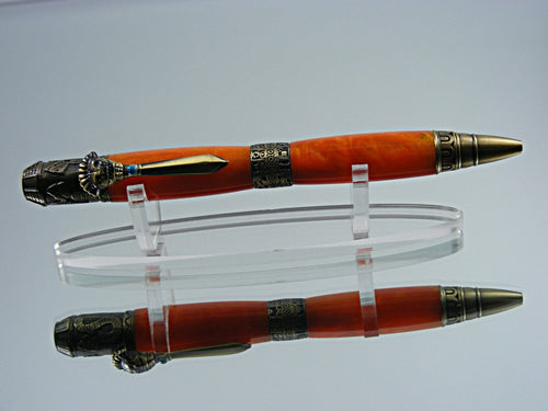 Mayan, Handmade Ballpoint Pen in Antique Brass and Orange Mango Acrylic