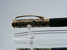 Load image into Gallery viewer, Handmade Ballpoint Pen, Filigree Style Pen in 24k Gold over Black Enamel with Wood Color Grain