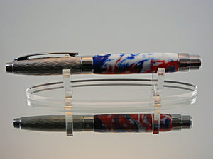 Fountain Pen, Handcrafted Pen in Etched Chrome and Patriotic Swirl Acrylic