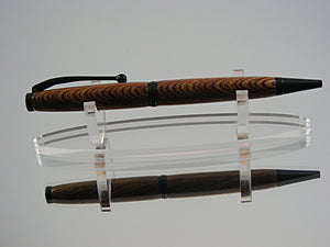 Handcrafted Ballpoint Pen in Black Enamel and Winter Log Laminate