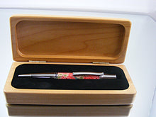 Load image into Gallery viewer, Handcrafted Ballpoint Pen in Black Titanium and Platinum with Millefiori, Polymer Clay