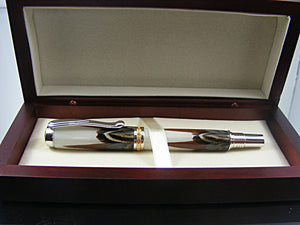 Handcrafted Fountain Pen in Rhodium and 22k with Ringneck Pheasant Feathers