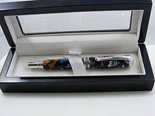 Load image into Gallery viewer, Rollerball, Handcrafted Pen in Rhodium and Black Titanium with Mosaic in Black Acrylic