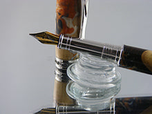 Load image into Gallery viewer, Fountain Pen, Handcrafted Pen in Rhodium and Black Titanium with Acrylic and Walnut