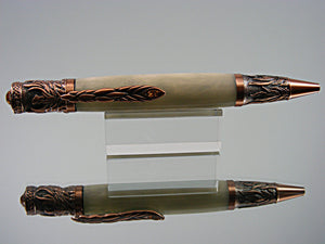 Phoenix, Handmade Ballpoint Pen in Antique Copper with Swarovski crystals and Red Pearl Acrylic