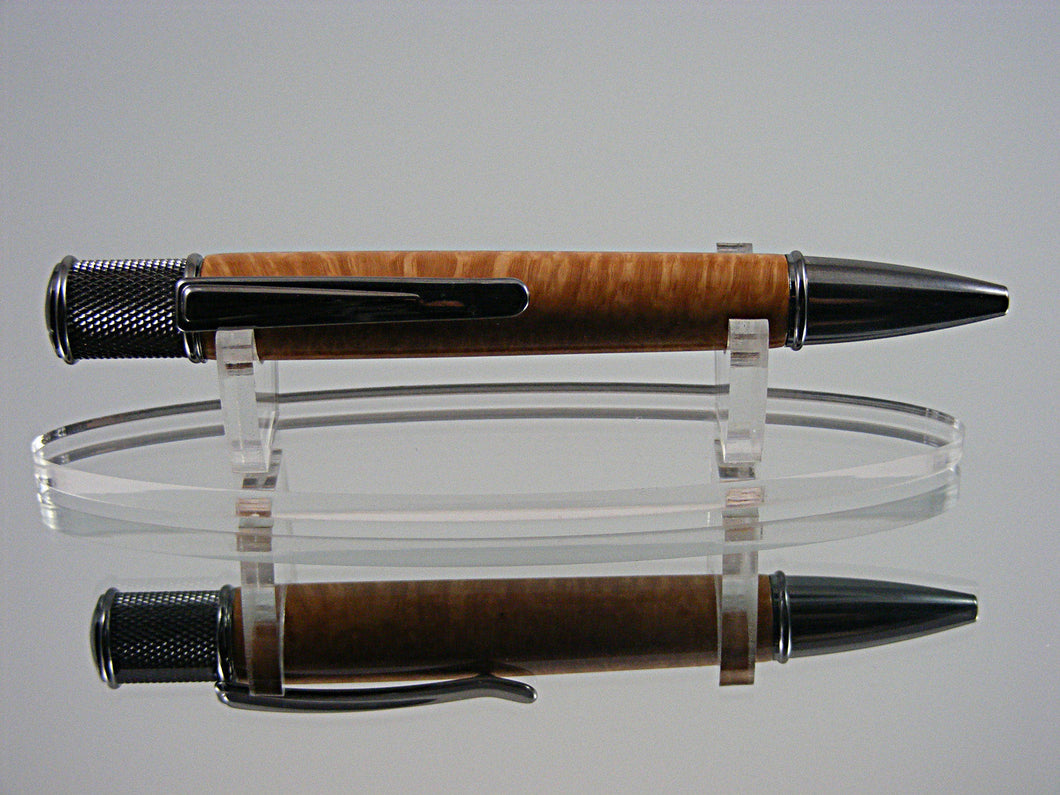 Handcrafted Industrial Ink Pen in Black Titanium and Briar Burl