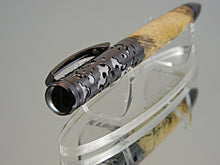 Load image into Gallery viewer, Ballpoint Pen, Handmade Filigree Style in Gunmetal over Satin Chrome with Spalted Tamarind