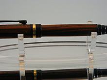 Load image into Gallery viewer, Rollerball, Classic Handmade Pen in 24k Gold with Black Enamel and Cocobola