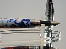 Load image into Gallery viewer, Fountain Pen, Handcrafted Pen in Etched Chrome and Patriotic Swirl Acrylic