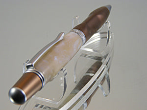 Ergonomic Pen, Unique Ergonomic Design, Handcrafted in Dark Coffee and Satin Chrome with Blue Pearl Acrylic