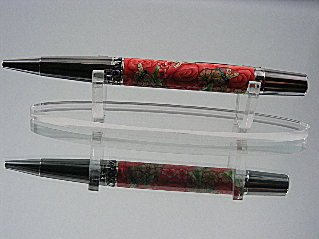 Handcrafted Ballpoint Pen in Black Titanium and Platinum with Millefiori, Polymer Clay