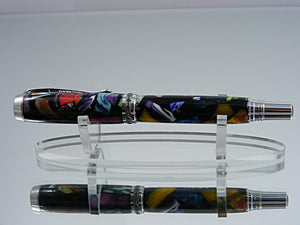 Rollerball, Handcrafted Pen in Rhodium and Black Titanium with Mosaic in Black Acrylic