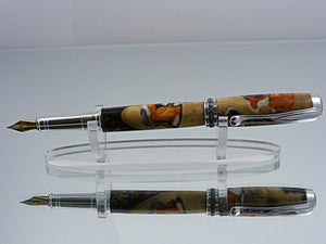 Fountain Pen, Handcrafted Pen in Rhodium and Black Titanium with Acrylic and Walnut