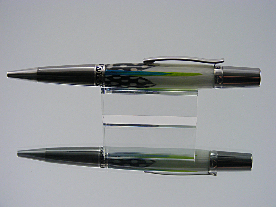 Pheasant Feathers Ballpoint Pen, Handcrafted with Black Titanium and Platinum