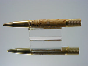Knurled Ballpoint Pen, Handcrafted in 24k Gold and Masur Birch