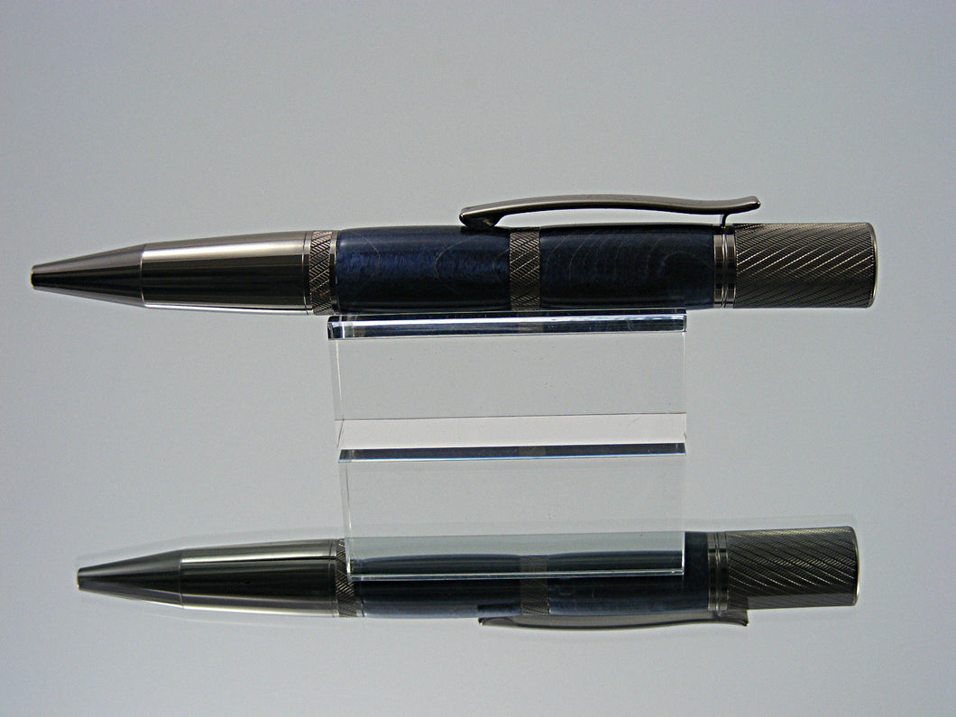 Knurled Ballpoint Pen, Handcrafted in Gunmetal and Blue Box Elder Burl