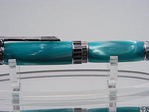 Handcrafted Music Themed Ink Pen in Chrome and Turquoise Pearl
