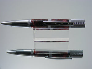 Knurled Ballpoint Pen, Handcrafted in Chrome and Fire Feathers Acrylic