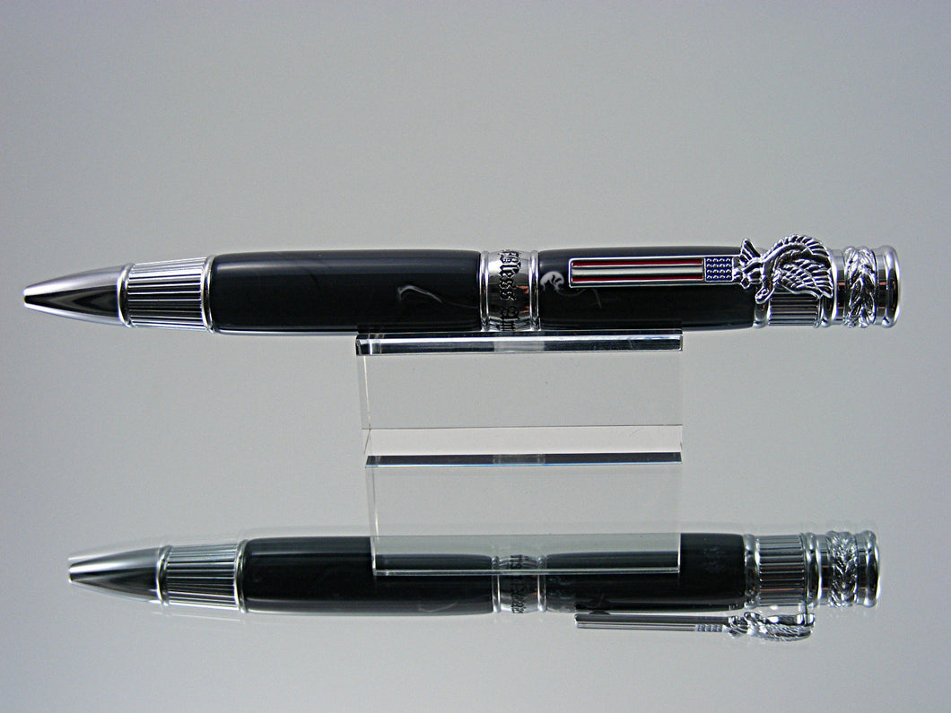 Patriotic Ballpoint Pen, Handcrafted in Chrome and Galaxy Acrylic