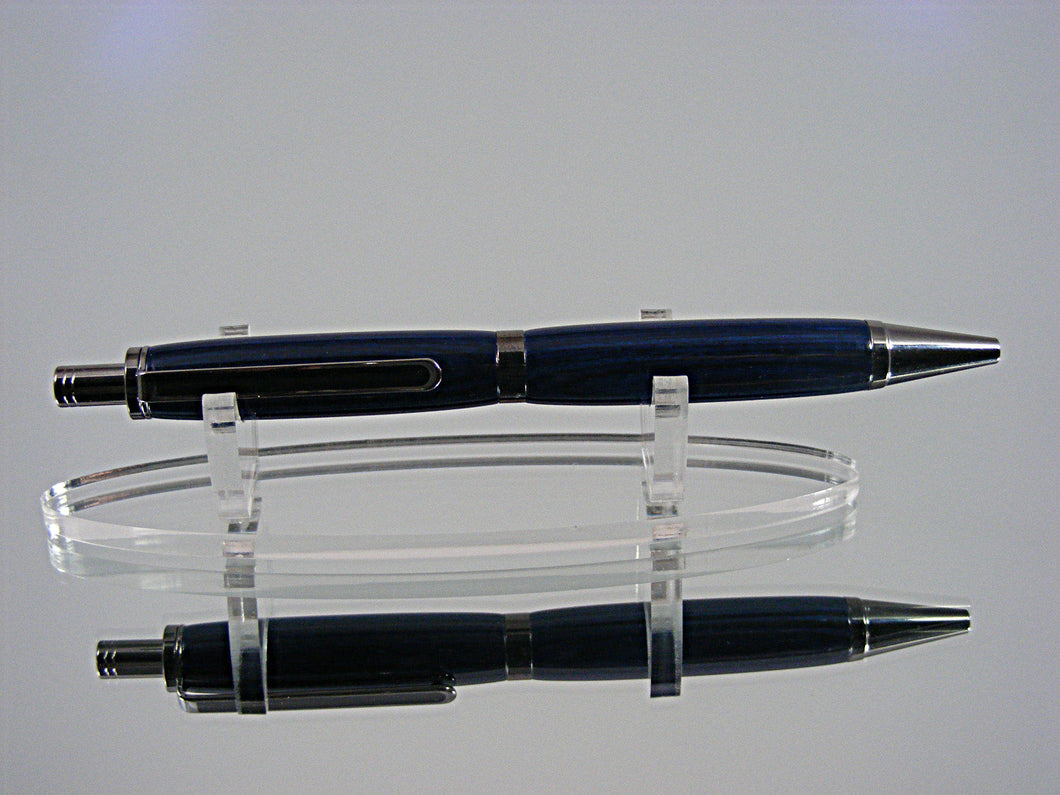 Handcrafted Click Top Ink Pen in Black Titanium and Indigo Royale
