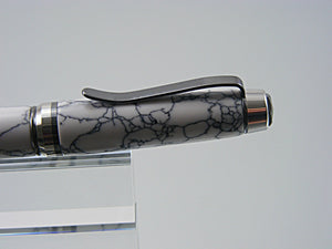 Ballpoint Pen, Handcrafted Cigar Style in Black Titanium and Platinum with Tru-stone