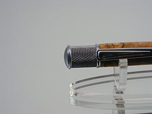 Handcrafted Industrial Ink Pen in Chrome and Spalted Tamarind